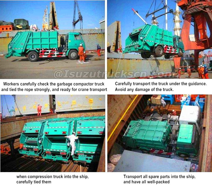 ISUZU garbage compactor vehicle for shipment