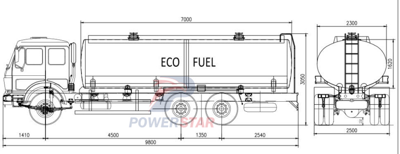 Techical drawing of Fuel/oil Tanker Truck Beiben (20,000 Liters)