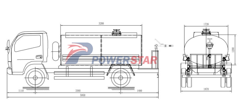 Technical drawing for water truck isuzu