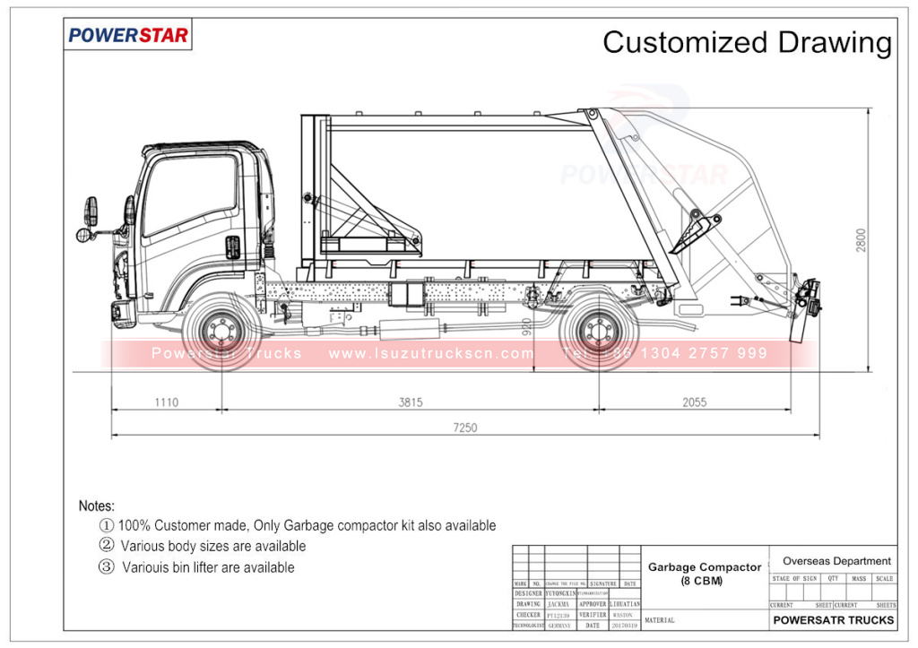 Hydraulic pressed garbage truck Isuzu (8 cbm) technical drawing