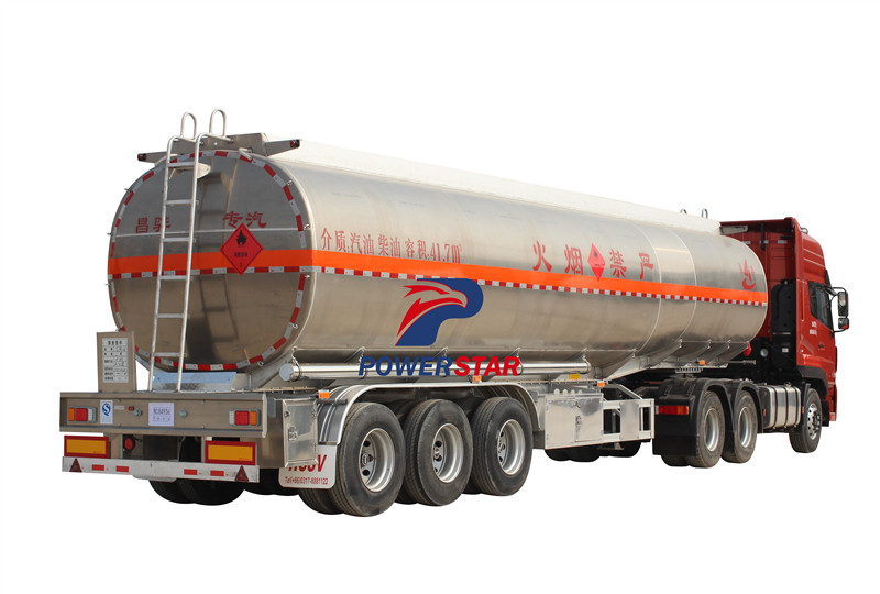 Powerstar brand Aluminum Alloy Feul Tanker Truck Semi Trailer 3 axle oil trailer 40 m3