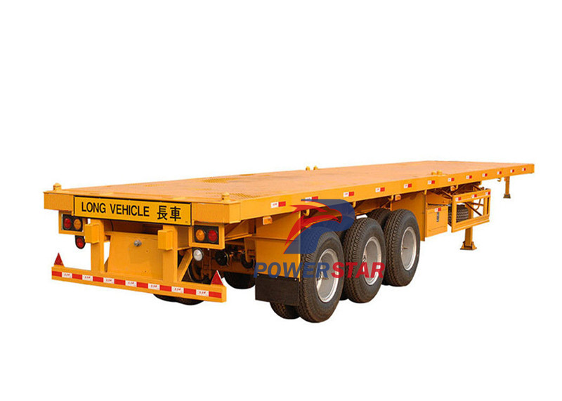 china best price 3 Axle 40ft Powerstar Container Flatbed semi trailer