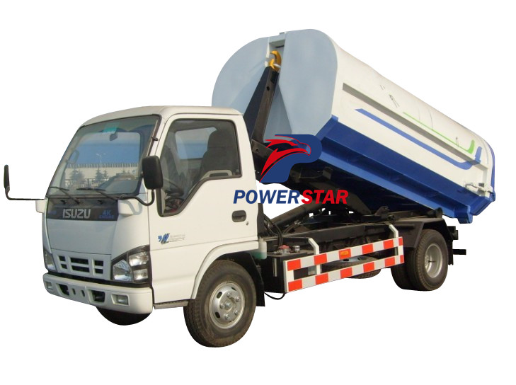 Isuzu Truck mounted Hook Lift Garbage Box with Wheels / Garbage Truck