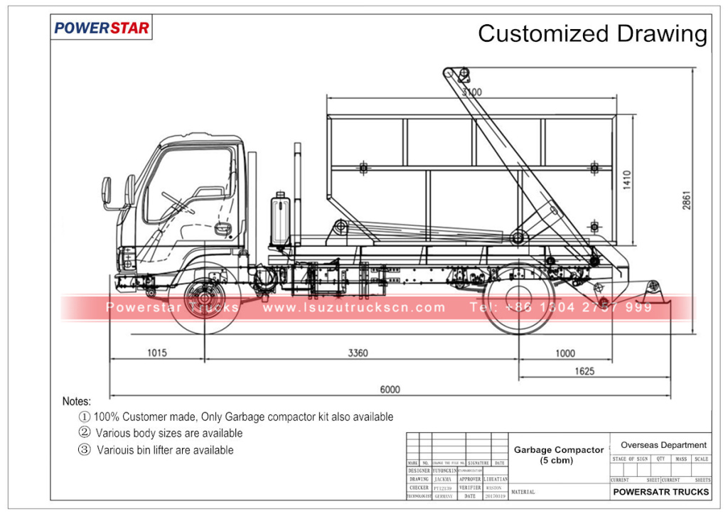 Technical drawing for Isuzu brand multilift skip lorry trucks