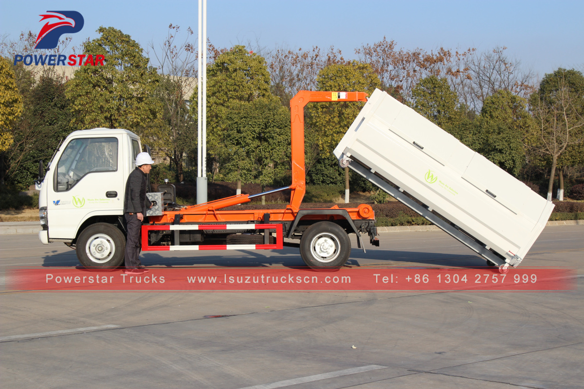 Powerstar 3tons Hooklift Refuse Collection Garbage Truck for sale