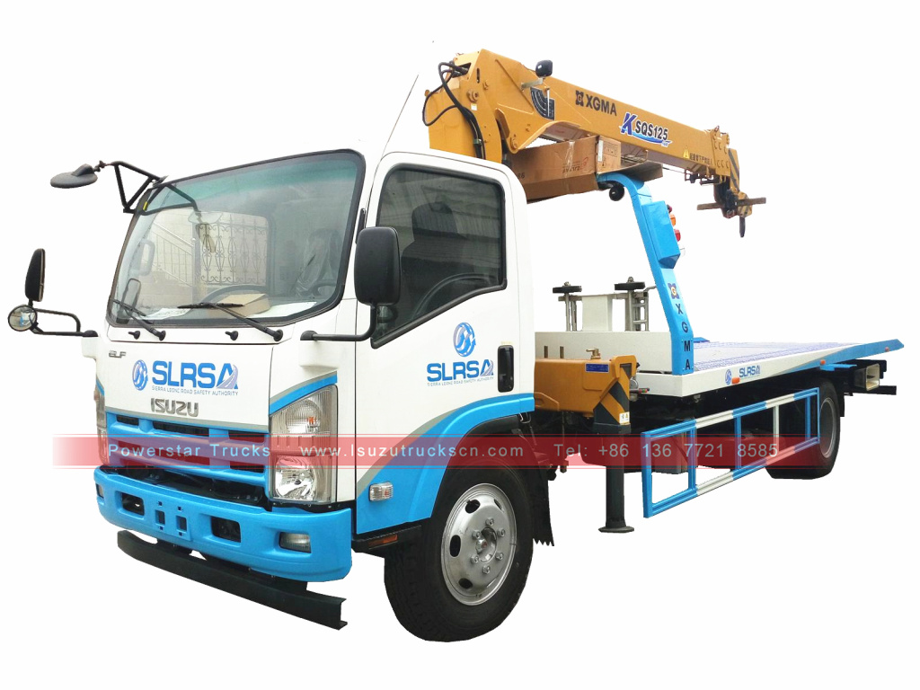 Japan ISUZU NPR Flat bed rollback car carrier truck for sale