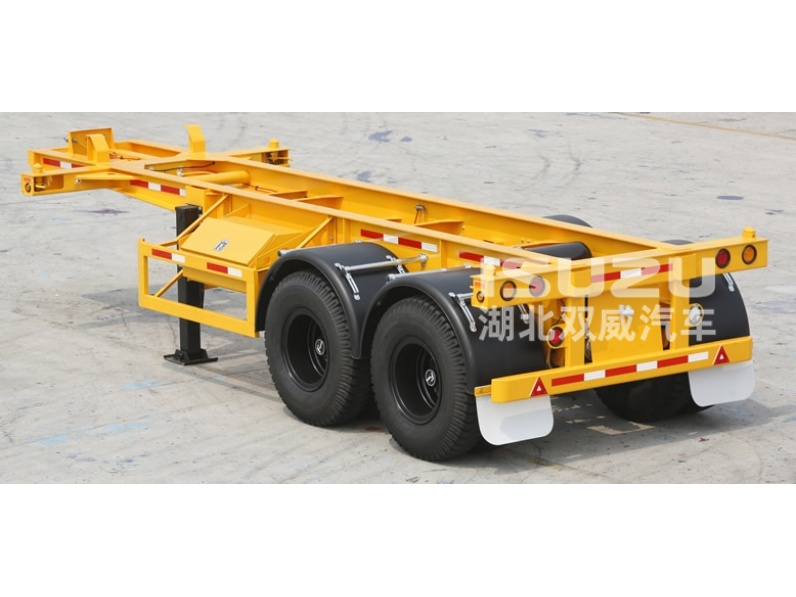 Hot sale 20ft container semi trailer/2axle flatbed truck trailer for sale (skeleton type is optional)